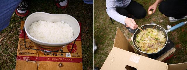 キャンプ飯 野菜炒め調理画像