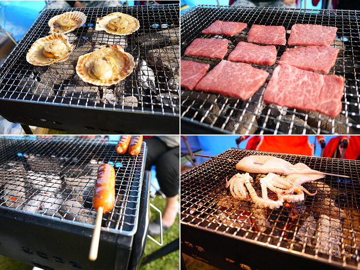 キャンプ初日のご飯 和牛カルビ・ホタテ・フランクフルト・イカ 4種の焼き物