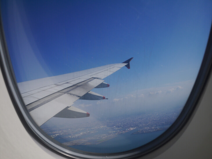 SQ619便(A380-800)Yクラス窓からの眺め画像