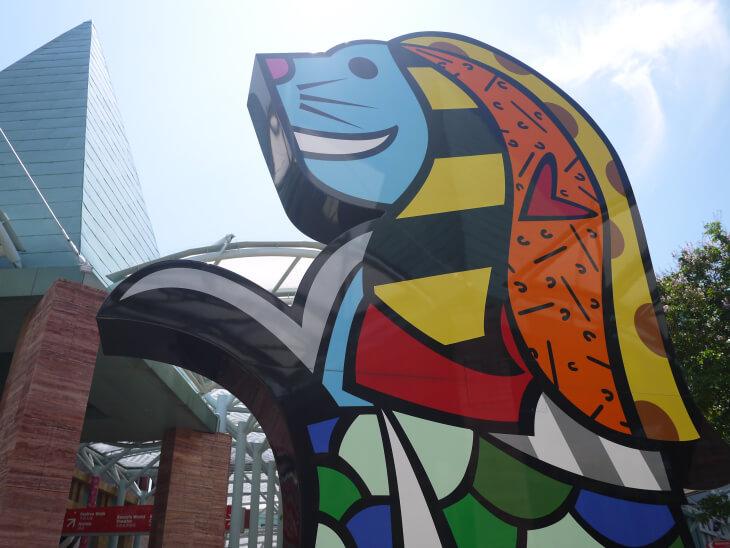 ハーバーフロントエリアにあるマーライオンのパネル画像